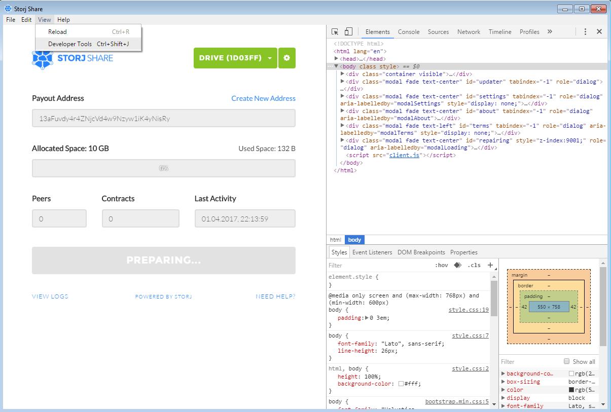 Просмотр HTML-кода Storj как в браузере