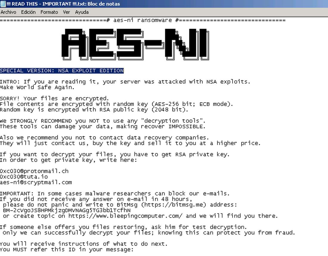 Автор вымогателя AES-NI утверждает, что использовал эксплоиты The Shadow Brokers