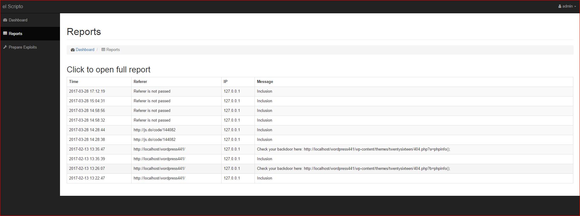 Страница со списком отчетов