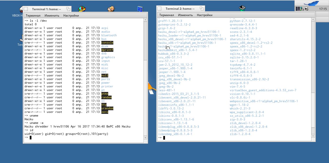 Терминал, файлы устройств и пакеты