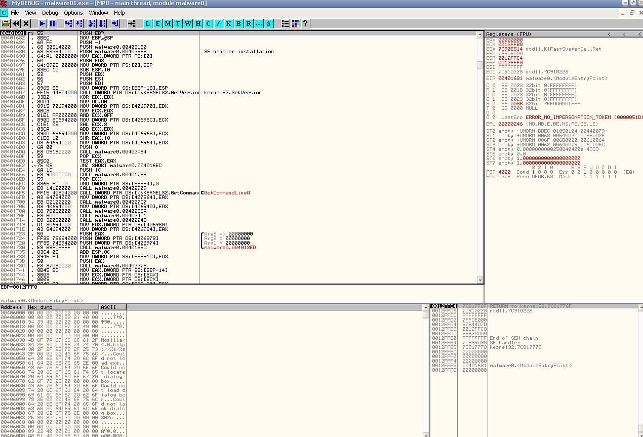 Закодированные строки Base64 в OllyDbg