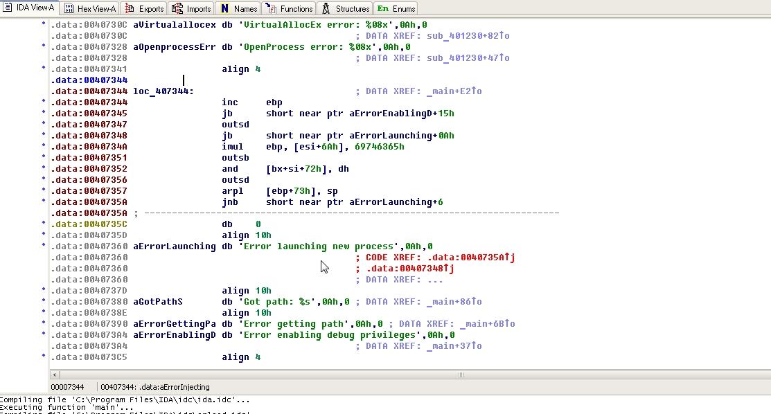 Содержимое шелл-кода после преобразования в байт-код в IDA Pro