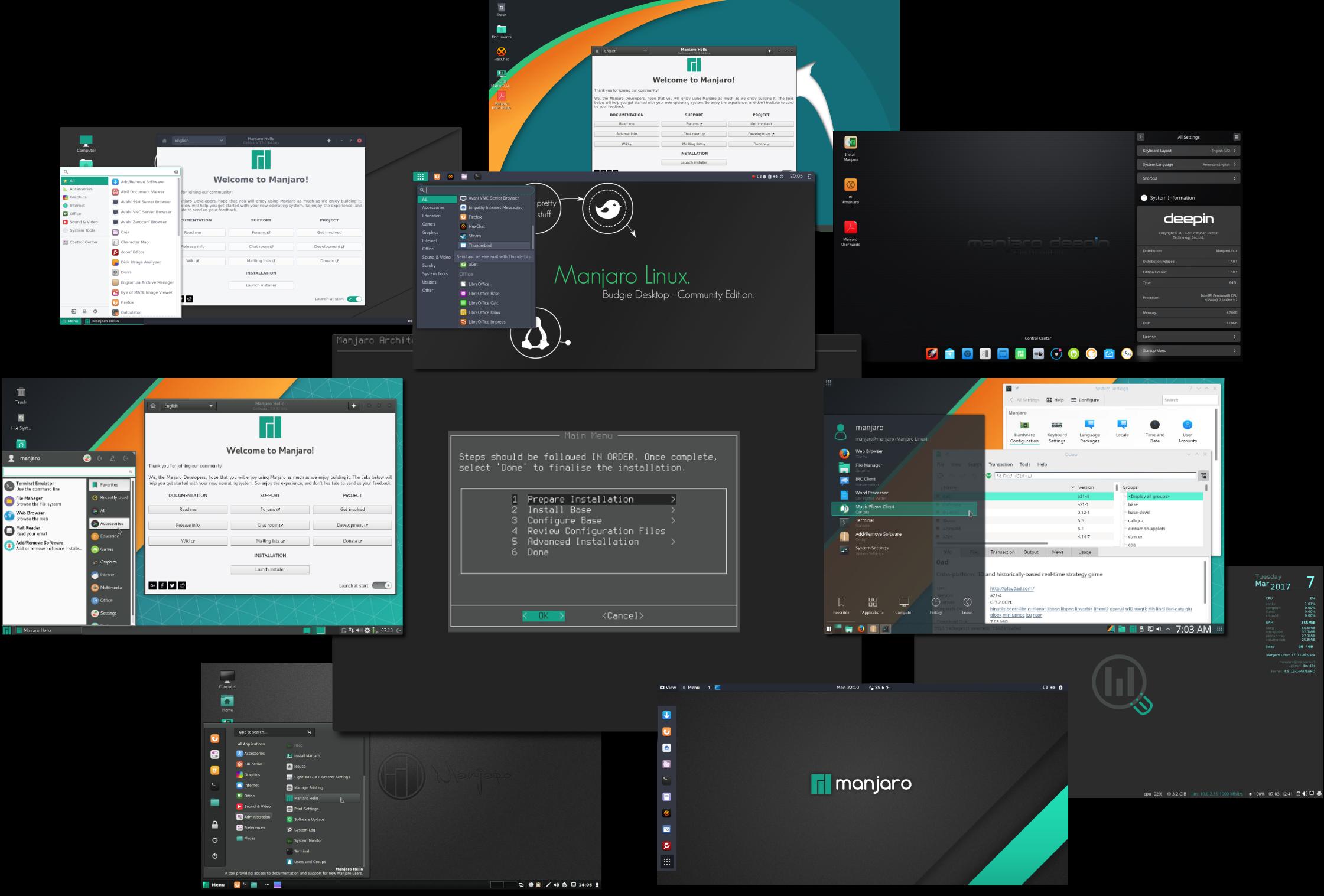 Множество вариантов преднастроенных рабочих столов, доступных к установке в Manjaro Linux