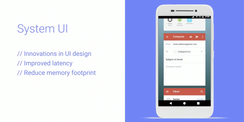Меню запущенных приложений Android Go