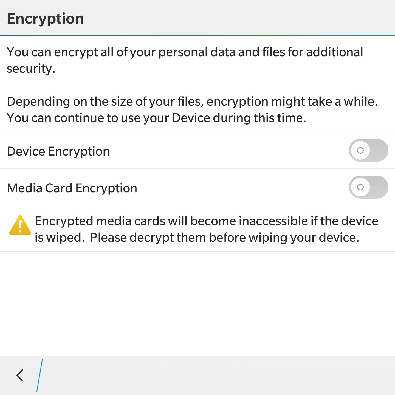 BlackBerry 10 умеет шифровать как внутреннюю память, так и SD-карту