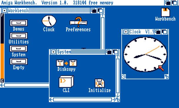Цветовая палитра AmigaOS 1.0 была выбрана в расчете получить хороший контраст даже на самых дешевых телевизорах