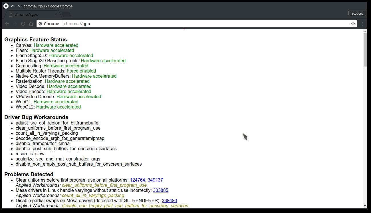 Статус поддержки аппаратного ускорения после настройки Chrome