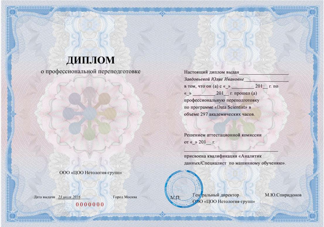 Диплом государственного образца о профессиональной переподготовке по специальности