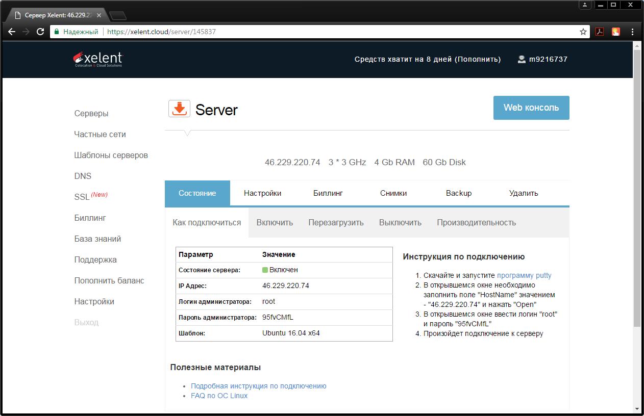Рис. 5. Панель управления виртуальным сервером