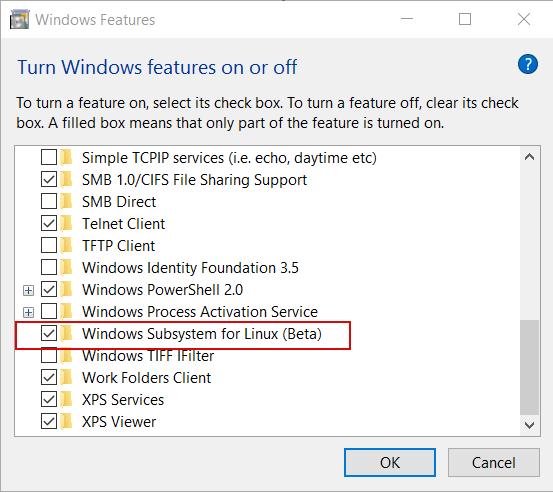 Выбираем Windows Subsystem for Linux (Beta)