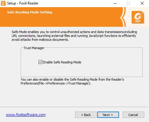 Safe Reading по дефолту включен после установки