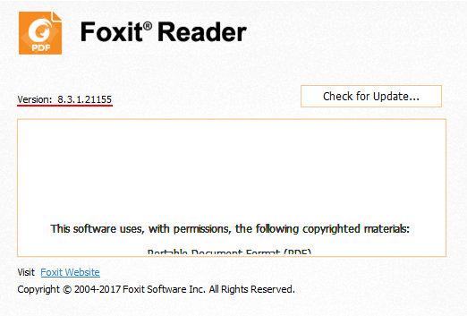 Уязвимая версия Foxit Reader