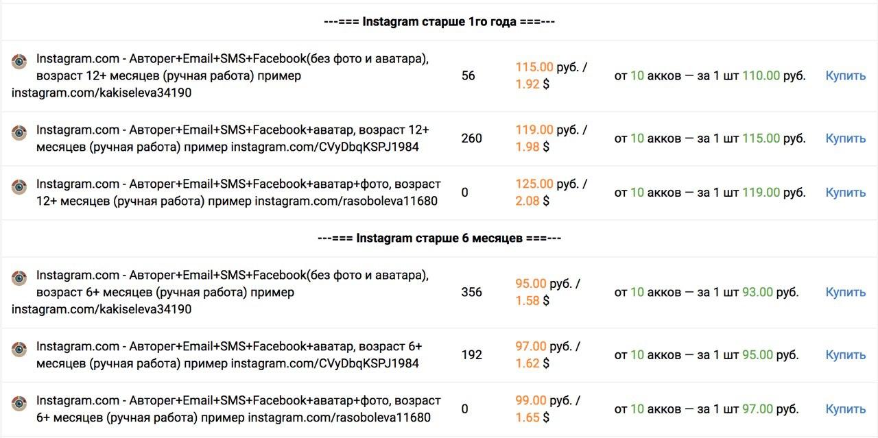 Примерно так выглядит торговля аккаунтами в Instagram