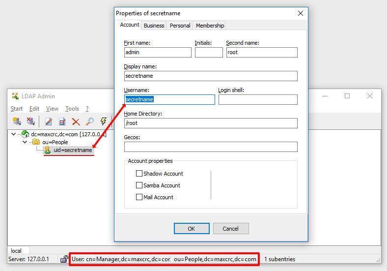 Созданный юзер в программе LDAP Admin