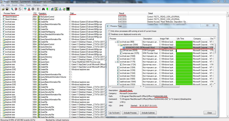 Рабочее окно утилиты Process Monitor
