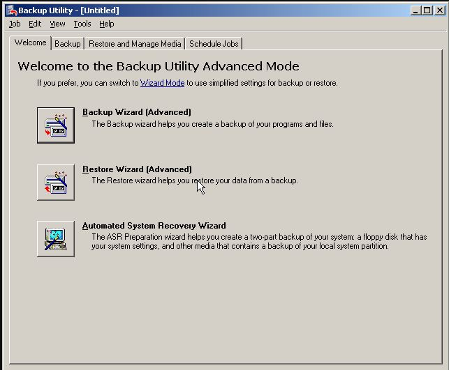 Интерфейс утилиты NTBackUp