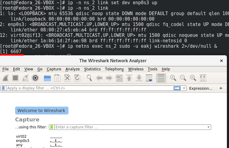 WireShark запущен в netns ns_2
