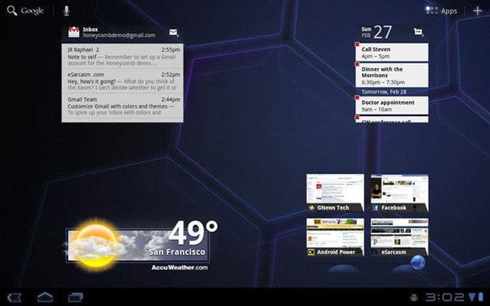 Планшетный интерфейс Android 3.0