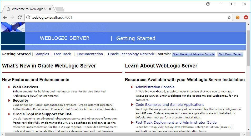 Стартовая страница WebLogic