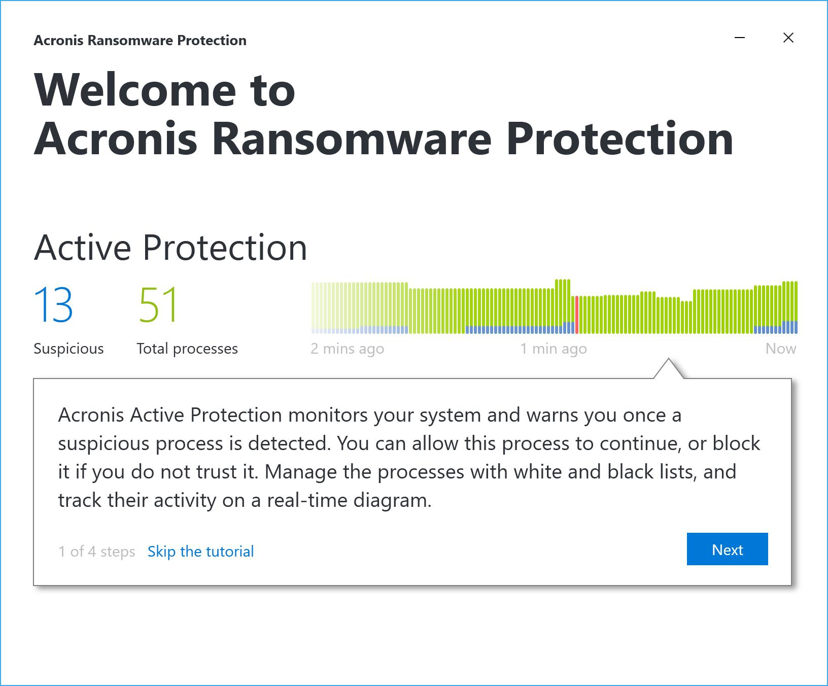 Первоначальная настройка Acronis Ransomware Protection