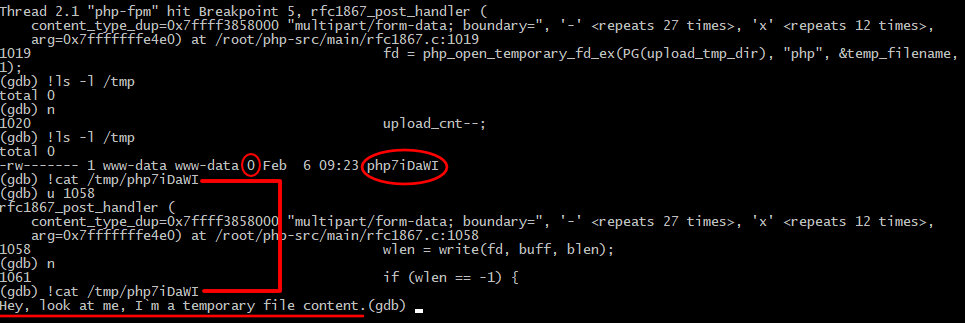 Отладка кода на моменте создания временного файла и записи в него пользовательских данных