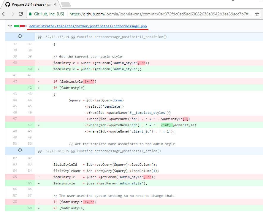 Коммит с патчем для SQLi