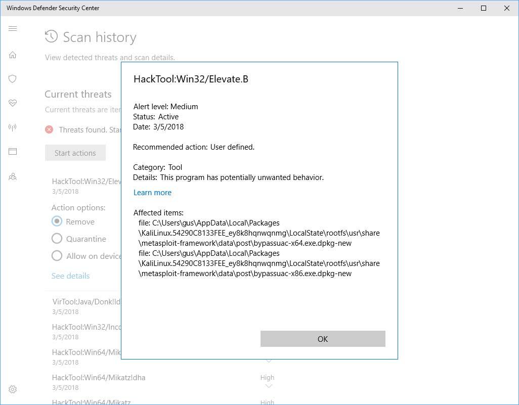 Kali Linux добавили вWindows Store, однако Defender считает дистрибутив угрозой