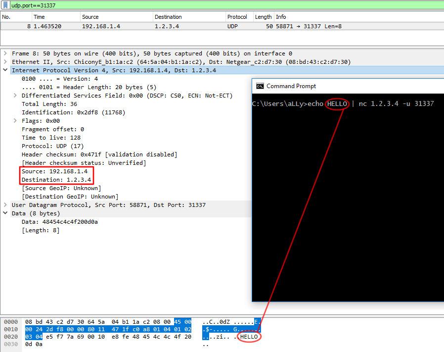 Обычный пакет UDP в сниффере Wireshark