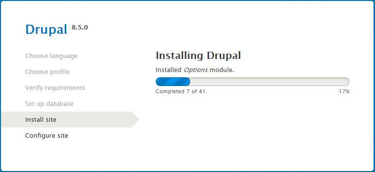 Процесс установки Drupal 8.5.0