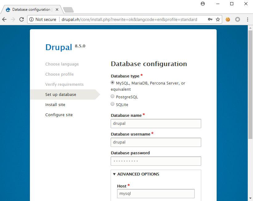 Установка Drupal 8.5.0