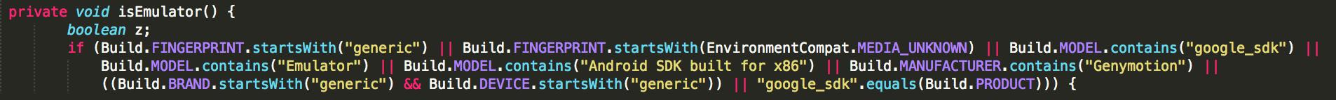 Пример кода защиты от запуска в эмуляторе