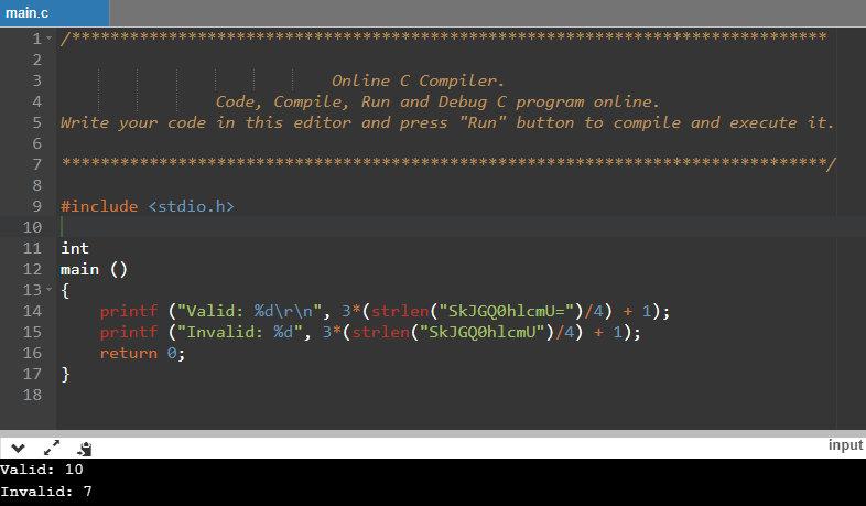 Размеры выделяемой памяти для валидной и невалидной строки Base64