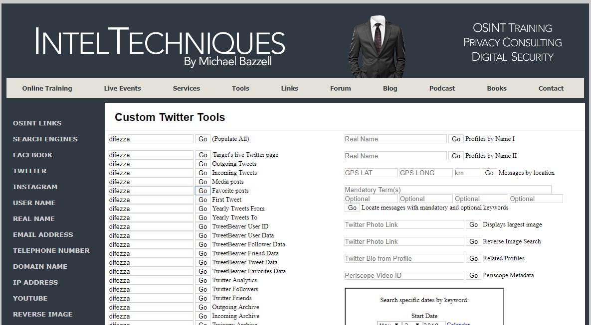 Пример веб-сервиса OSINT, использующего API социальных сетей