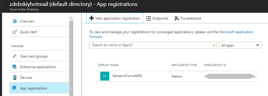 New App Registration Completed