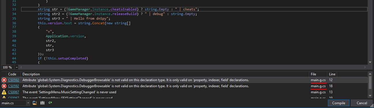Ошибки компиляции метода в dnSpy