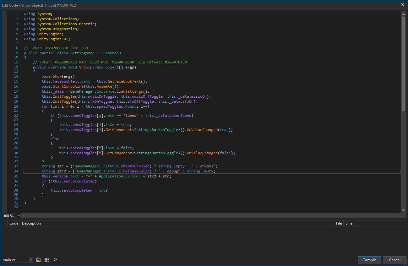 Окно редактирования выбранного метода в dnSpy