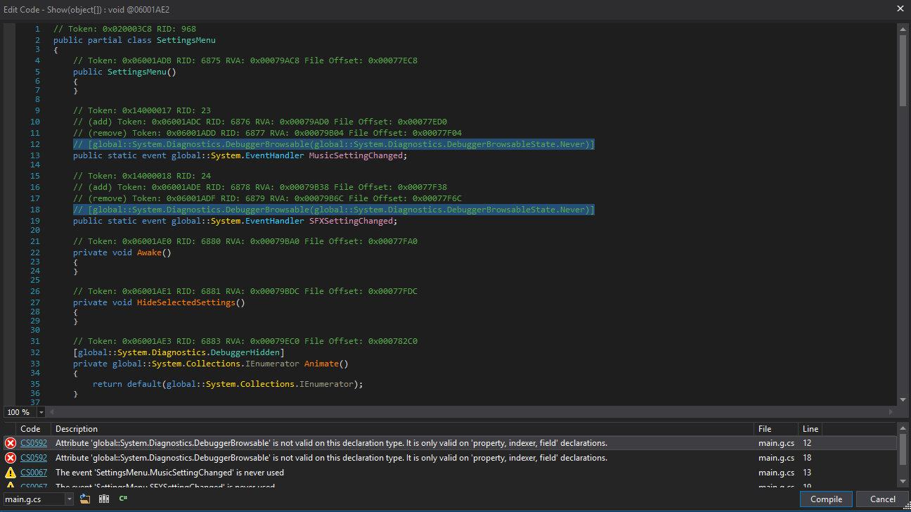 Устраняем ошибки компиляции метода в dnSpy