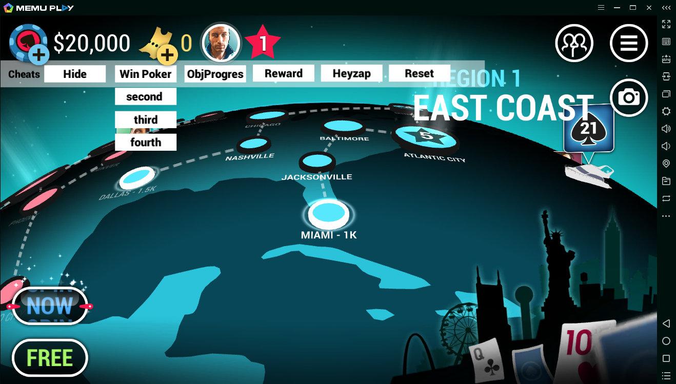Активированное чит-меню в Poker World