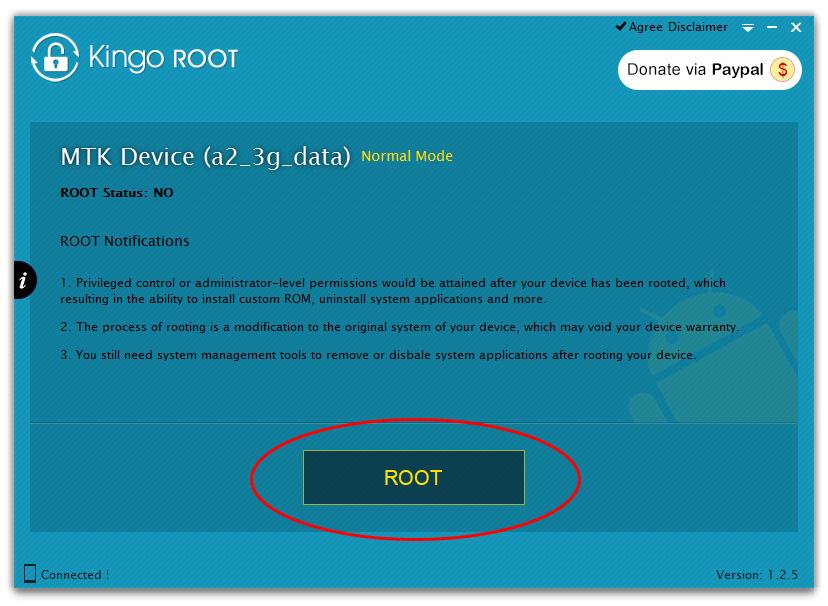Окно программы Kingo Android ROOT для получения прав root на Android-устройстве