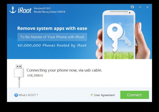 Стартовое окно тулзы iRoot, позволяющей получить права суперпользователя