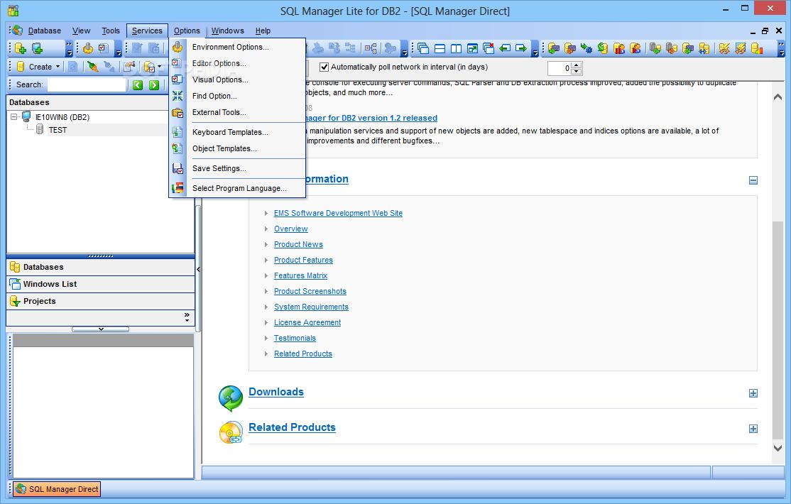 Основное окно SQL Manager Lite