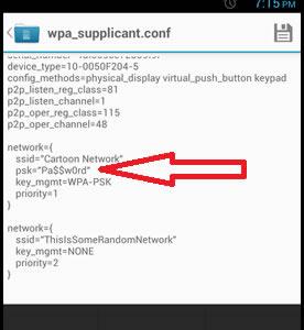Данные файла wpa_supplicant.conf