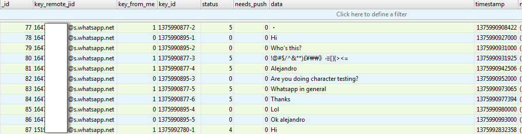 Содержание файла msgstore.db