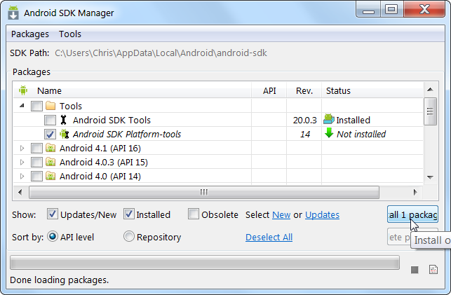Выбор компонентов Android SDK