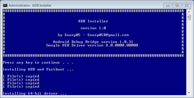 «Тихий установщик» ADB Installer для Windows