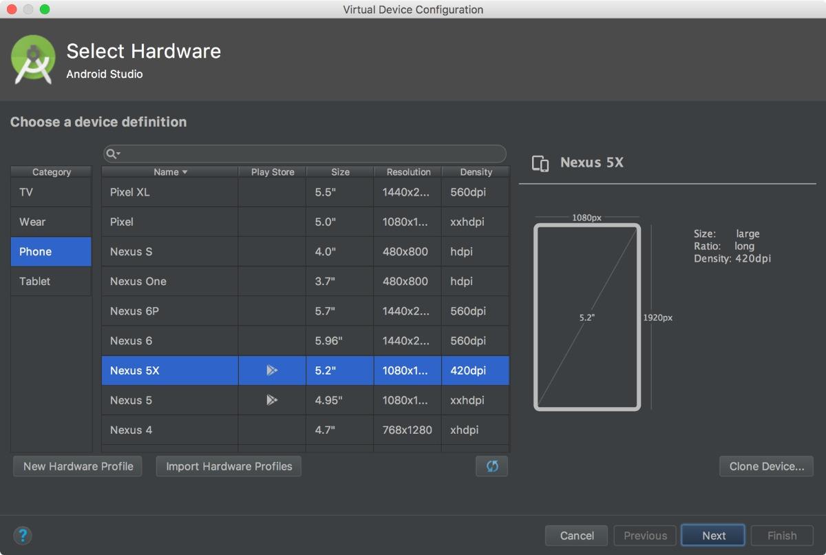 Конфигуратор образа для запуска в Android Virtual Device