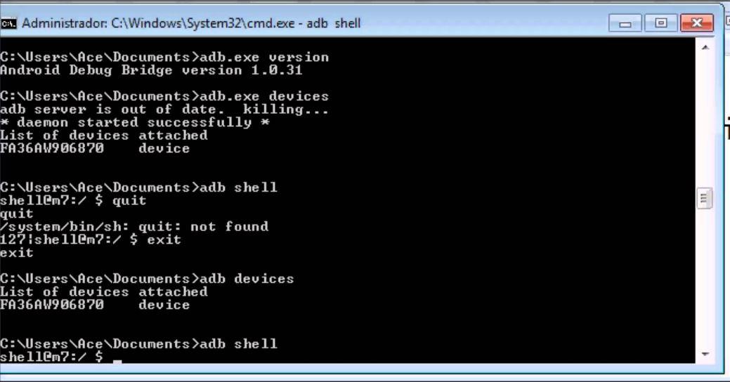 Окно cmd.exe с выполненной в ADB командой shell