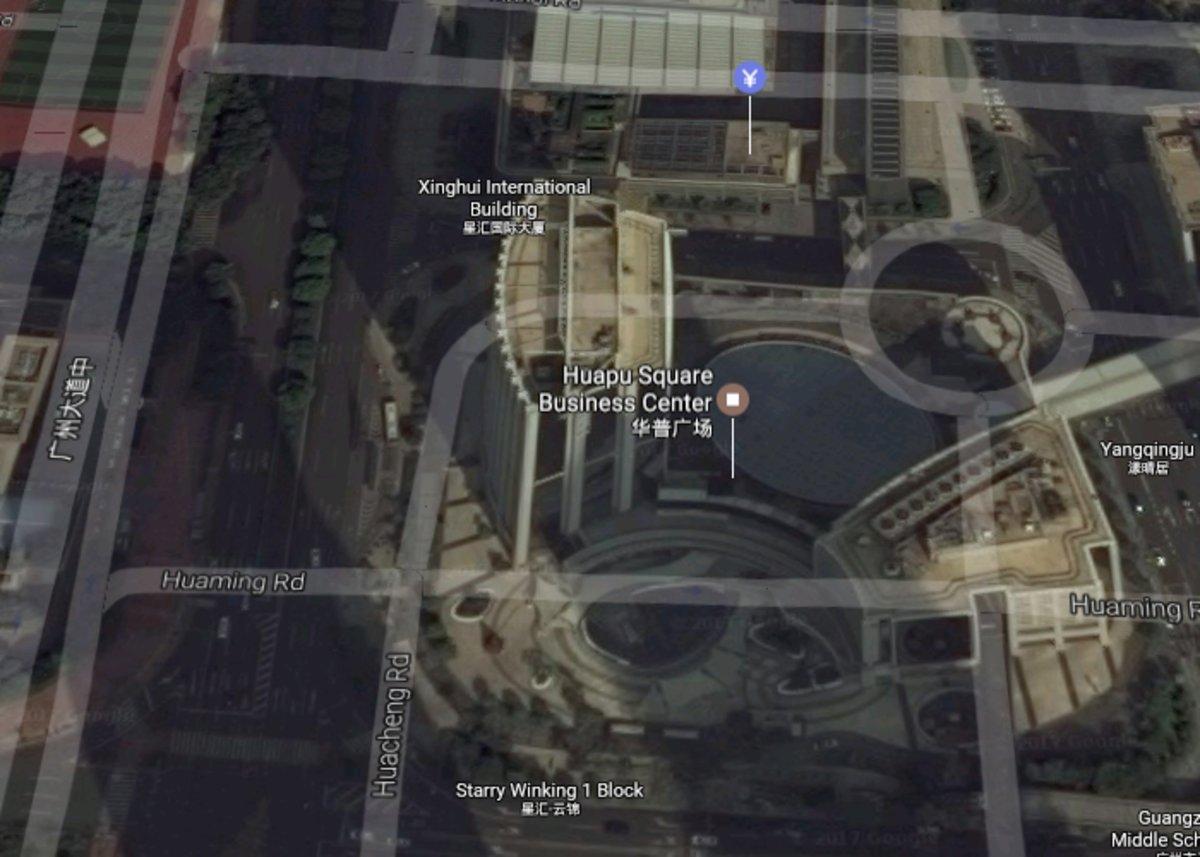 Huapu Square West Tower — предположительно одна из баз APT3, фото: DigitalGlobe